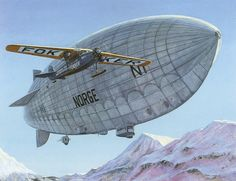 Umberto Nobile's dirigible 'Norge' & Richard Byrd's Fokker F.VII Trimotor 'Josephine Ford' over the Arctic, 1926, by Don Connolly ~ BFD