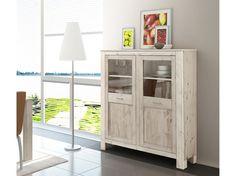 Vitrine SVEN aus Kiefer massiv, grau gekalkt im modernen Landhausstil für Ihre Moderne Landhausküche - Loft24.de