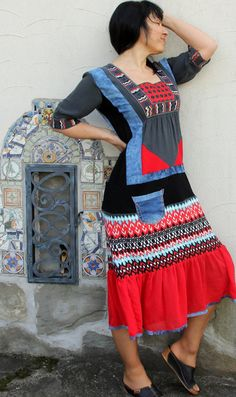 Upcycled ethnic embroidered long dress. Decorated with denim. Made from recycled clothing. Remade, reused and recycled. Hippie boho bohemian style. One of a kind. Size: M-L (european 38-40) Bust line max 42 inches (107 cm) Waist max 36 inches (92 cm) Hips line max 44 inches(112 cm ) Length is about 47 inches (120 cm)