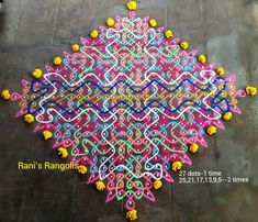 Rani is a popular Rangoli Designer who creates lot of Rangoli's with dots. There are lot of Rangoli designs below which are easy and simpl. 3d Rangoli, Rangoli Patterns, Rangoli Designs Diwali, Rangoli Designs Images, Rangoli Designs With Dots, Rangoli With Dots, Beautiful Rangoli Designs, Simple Rangoli, Crochet Bows