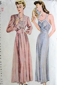 1940s  DREAMY NIGHTGOWN,NEGLIGEE ROBE PATTERN SIMPLICITY 4995