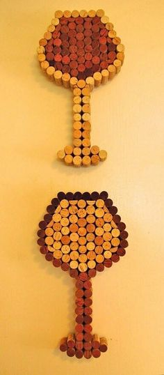This bottle art made of corks using the reds for accent color. Check out more of Leah's Corkeations' work here.