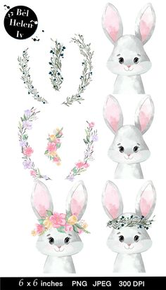 Watercolor Animals, Watercolor Cards, Easter Drawings, Forest Drawing, Bunny Painting, Flower Phone Wallpaper, Pink Animals, Clip Art, Bunny Art