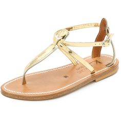 K. Jacques Buffon Thong Sandals (5,095 THB) ❤ liked on Polyvore featuring shoes, sandals, flat sandal, miroir platine, metallic leather sandals, leather shoes, toe thongs, t strap sandals and metallic thong sandals