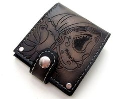 Gypsy Sugar Skull Leather Bifold Wallet with by SanFilippoLeather, $140.00 men's fashion