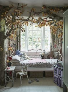 The Easy Kids Bedroom DIY That Led to a Tree Canopy Nook How a Sleeping Nook Became a Magical Forest Canopy Bed Kids Bedroom, Bedroom Decor, Bedroom Nook, Master Bedroom, Kids Rooms, Long Bedroom Ideas, Tree Bedroom, Bed Nook, Garden Bedroom