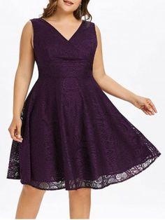 Plus Size Empire Waist Lace Dress Plus Size Lace Dress, Lace Dress Black, Plus Size Dresses, Purple Lace, Purple Cocktail Dress, Plus Size Cocktail Dresses, Mini Slip Dress, Surplice Dress, Cheap Dresses