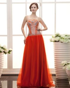 Tulle Strapless Beading A-line Long Prom Dress on sales at persun.co.uk SKU: PPCG2237