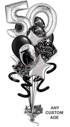 Black And White 50th Ove The Hill Balloon Bouquets