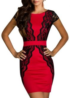 Catching Lace Design Round Neck Short Sleeve Bodycon Dress on sale only US$22.67 now, buy cheap Catching Lace Design Round Neck Short Sleeve Bodycon Dress at modlily.com