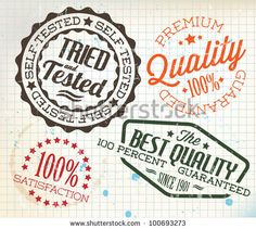 Vector retro teal vintage stamps for quality on old squared paper