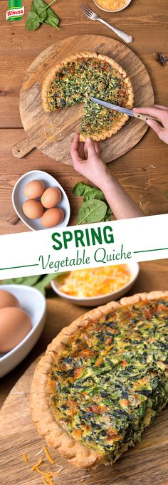 Everybody loves Knorr's delicious Spring Vegetable Quiche. Make this easy recipe and enjoy for breakfast, lunch, and dinner. 1. Beat eggs 2. Add milk, cheese, spinach, and Knorr® Spring Vegetable recipe mix 3. Pour into pie crust 4. Bake 5. Eat.