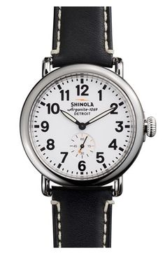 """My Dad would have loved this brand as one of his favorite sayings was, """"Doesn't know shit from shinola"""", lol! I believe that the shinola in that phrase referred to shinola shoe polish. Shinola 'The Runwell' Leather Strap Watch, 41mm available at Nordstrom."""