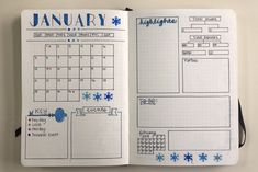 January bullet journal monthly overview