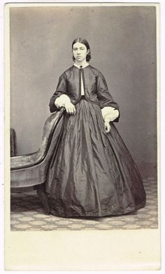 Standing Young Lady Hoop Dress in Salem Massachusettes by D.W. Bowdoin 1860s CDV