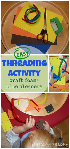Sewing For Kids Easy DIY a play set for your kids - easy and fast. It's craft foam threading with pipe cleaners. An early threading activity for toddlers. - DIY a play set: craft foam threading with pipe cleaners. An early threading activity for toddlers. Motor Activities, Indoor Activities, Craft Activities For Kids, Infant Activities, Nanny Activities, Therapy Activities, Preschool Ideas, Sewing Projects For Kids, Sewing For Kids