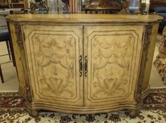 HAND PAINTED SERPENTINE CREDENZA . BUFFET . TV MEDIA CONSOLE CABINET