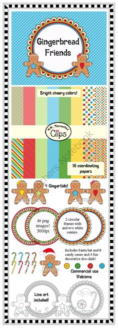Gingerbread Friends Collection from KB Konnected Clips on TeachersNotebook.com (46 pages)  - Bright and cheery!