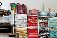 Shelves | Find the best sewing room organization ideas on how to store fabrics! We've rounded up 11 brilliant and effective ways to store your spare fabrics!