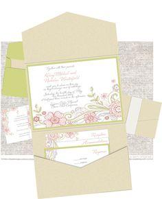 Pocketfold Wedding Invitation  Drawn Flowers by JessicaLamDesigns, $75.00