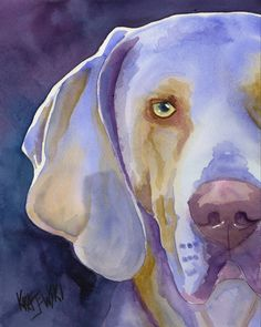 Weimaraner Dog Fine Art Print on 100% Cotton Watercolor Paper. About the Print: This Weimaraner Dog open edition art print is from an original painting by Ron Krajewski. Art print is available in 8x10 or 11x14 inches and is printed on museum quality heavy weight textured fine art paper. Quality fine art prints on quality heavy-weight 100% cotton mould-made paper, designed for fine art photography and printmaking. Print is hand signed by the artist on the front border. About the Artist…