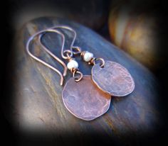 Wire Wrapped Pearls and Hammered Copper Earrings on Antiqued Copper Artisan Earwires - Wire Wrapped Jewelry Handmade - LADY SOPHIE on Etsy, $26.00