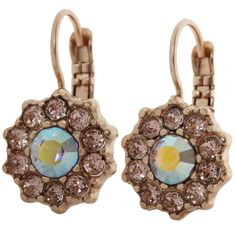 Mariana Rose Gold Plated Daisy Swarovski Crystal Earrings, Pink Petal. Available at www.regencies.com