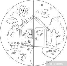 Day and Night Coloring Pages for Kids Colouring Pages, Coloring Books, Colouring Sheets, Islam For Kids, Kindergarten Worksheets, Art Classroom, Pre School, Preschool Crafts, Preschool Activities