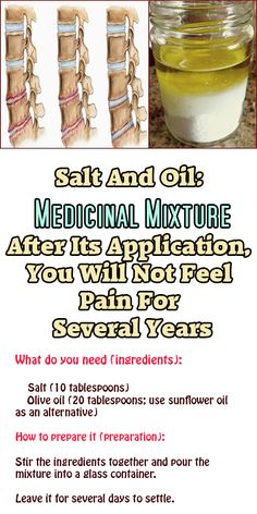 Salt And Oil: Medicinal Mixture … After Its Application, You Will Not Feel Pain For Several Years One of the most common health conditions associated with modern times is Osteochondritis, particularly in the neck and shoulder area.