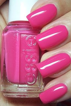 Pink nail polish colors really look great and lovely on nails. This is a color that many of the girls love to have in their nail polish set. Here are the top 10 picked up for you. Hot Pink Nails, Love Nails, How To Do Nails, Essie Nail Polish Colors, Nail Colors, Nail Polishes, Manicures, Gorgeous Nails, Pretty Nails