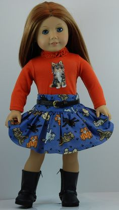 18 inch Doll Clothes fit American Girl Dolls.  This  Charming Tails 4 pc Skirt Outfit is now available on Amazon.