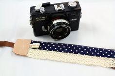 DSLR Camera strap (leather and webbing)---Lace style 12---polka dot---Navy Blue