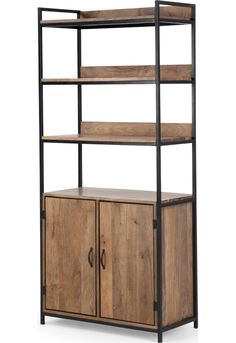 MADE Modular Shelving With Storage, Black & Mango. Lomond Bookcases & Shelves Collection from MADE. Wood Bookshelves, Bookcase Shelves, Wood Shelves, Steel Furniture, Industrial Furniture, Bedroom Minimalist, Modular Shelving, Diy Apartment Decor, Dining Room Walls