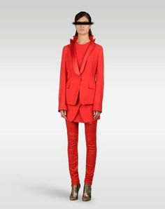 MMM Red tuxedo. They have this at Mameg with tuxedo pants - it's gorgeous. You should have a red tux.