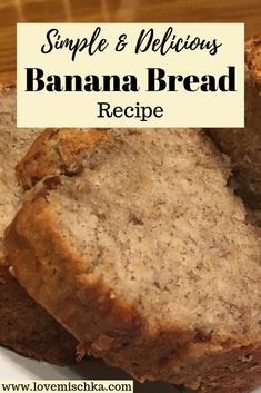 A simple and delicious banana bread recipe to use those over-ripe bananas and make the whole family happy. It's incredibly easy to make! No mixer needed! Easy Bread Recipes, Banana Bread Recipes, Cooking Recipes, Banana Recipes Simple, Homemade Banana Bread, Banana Bread Easy Moist, Simple Banana Bread Recipe Without Baking Soda, Best Banana Bread Recipe 4 Bananas, Moist Banana Bread Recipe With Sour Cream