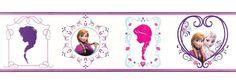 Borte lila weiß pink Disney Frozen Elsa und Anna Disney Eiskönigin Tapete 90-065