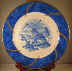 For your consideration is a s tunning set of six plates by Lynn Chase in the Leopard Lazuli pattern. Blue And White China, Blue China, China Patterns, Salad Plates, Cat Stuff, White Porcelain, China Cabinet, Platter, Random Things