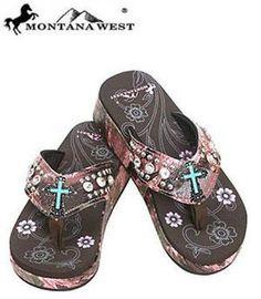 aace580b796a0 Montana West Pink Camo Turquoise Cross Flip Flops