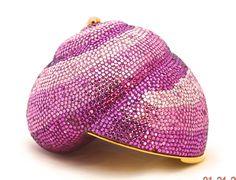 Judith Leiber Pink Swarovski Crystal Shell Minaudiere Clutch Handbag