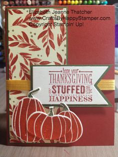 Stampin up thanksgiving card. Mingle all the way stamp set and Fall Fest stamp set and bundle. #stampinup #thanksgiving #crafts