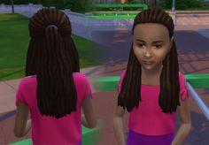 Dread Half Up for Girls The Sims, Sims 4 Mm, Girls Natural Hairstyles, Natural Hair Styles, Sims 4 Children, Sims Hair, Half Up, Black Kids, Female Hair