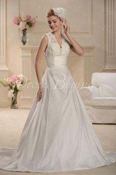 Sumptuous A-line Capped-Sleeve V-neck Floor-length Watteau Wedding Dress