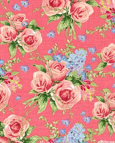 WALL PAPER: Roses and delphinium wall paper - so vintage, so charming.  Love for a bathroom  .