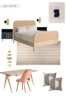 My love for cane furniture is still going strong and there have been so many cane bed options popping up, I thought it would be a perfect jumping off point for another high/low room design. Grey Bedroom Furniture, Master Bedroom Interior, Cane Furniture, Bedding Master Bedroom, Guest Bedrooms, Home Decor Furniture, Home Decor Bedroom, Furniture Design, Gray Bedroom