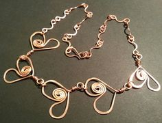 Copper Heart and Wave Necklace by AceSvan on Etsy, kr120.00