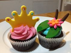 Princess and the frog themed cupcakes made for a little girls 1st birthday