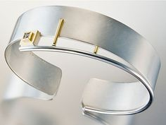Bracelet | Janis Kerman. Sterling silver, 18k gold, industrial diamonds