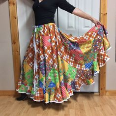 31ddc7e6d Hippie Patchwork Skirt Plus Size Vintage Long Maxi Skirt Fits 1XL-4XL Full  Swing Skirt