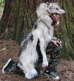 RESERVED Real HUGE gray wolf full complete skin fur totem dance costume headdress mask for totemic dance, shamanic ritual and more. $650.00, via Etsy.