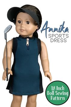 """Premium 18 inch doll patterns designed by Appletotes & Co. to perfectly fit American Girl, Our Generation and similar dolls. This sporty outfit features the Annika Dress 18"""" doll pattern and the free no-sew Sports Visor and free DIY golf club project! Printable PDF patterns come with easy to follow, step-by-step instructions with color pictures for every step to guide you through these fun DIY doll projects. Doll Sewing Patterns, Doll Clothes Patterns, Clothing Patterns, Pdf Patterns, Diy Doll Projects, Cool Diy Projects, American Girl Diy, Shoe Pattern, Sporty Outfits"""